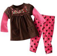 Retail baby kids clothing set, kids roupas de bebe  clothes girl Coffee shirt dot pinks pants . cotton hot sell   F0321