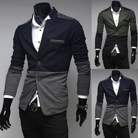 2014 New style Premium Men's Slim Top Designed Sexy Short Jacket Coat Patchwork Slim Korean Plus Size M-XXL BX16