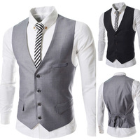 2014 New Fashion Men Suit Vest Slim Dress Vests Men's Fitted Leisure Waistcoat Casual Business Jacket Tops M-XL BM55