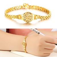 OPK New Arrival 18K Real Gold Plated Charm Bracelet Special Wrist Watch Shape Design Women Vogue Jewelry