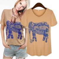 2014 summer women's European \u0026 American big fashion boutique cultivating wild sweet animal Elephant printed T-shirt factory