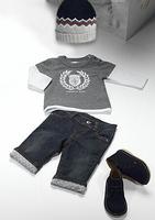 New 2014 Fashion Baby Boys Clothing Set Autumn Kids 3pcs Suit T shirt + Jeans + Hat Children Casual Clothes