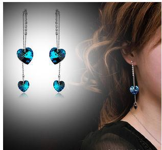 Fashion jewelry Crystal love Tassel earrings E340 B12