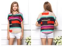 Women's Clothing Loose Trendy Irregular Colorful Stripe Batwing Coat Chiffon Round Collar Short Sleeve T-shirt in Hot Sale H24