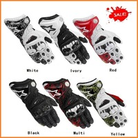 Free shipping 2014 BRAND NEW GP/PRO MEN'S Genuine Leather gloves Orange Driving Motorcycle Gloves