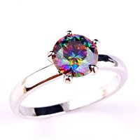 Fashion Jewelry Wholesale New Fabulous Newfashioned Round Cut Mystic Rainbow Topaz 925 Silver Ring Size 6 7 8 9 10