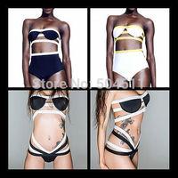 2014 Women's Push Up Bikini brazilian biquini Black White Bandage Swimsuit Bandeau swim trunks Strappy Cut Out bikinis set