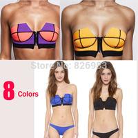2015 NEW vintage Women's fashion triangl Neoprene Bikinis sexy push up Neoprene SWIMSUIT Set Free shipping 8 colors