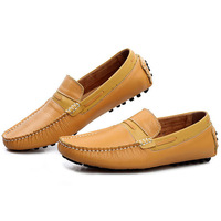 New 2014 Vintage Genuine Leather Men Moccasin Loafers Comfortable Male Massage Driving Shoes Fashion Slip-on Men's Flats