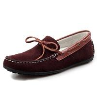 New Fashion Patchwork Bowtie Slip-on Men's Flats Comfortable Men Moccasin Loafers Vintage Cow Leather Men Massage Boat Shoes