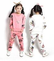 Girls Clothing Sets Floral Print Pacthwork Children Sport Set Hoody Pants Conjunto De Roupa Kids Tracksuit Sportswear for Girls