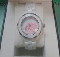 Lady Luxury Brand White Ceramic Flower Watch Women Dress Colorful CZ Diamond Wristwatches Valentine's day/Christmas gifts