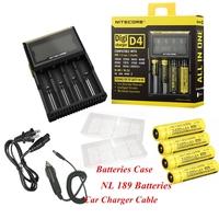 1Set Nitecore D4 Digcharger LCD Display Universal Battery Charger+4*NL189 3400mAh Batteries+Batteries Box+Car Charger
