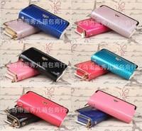 High-grade locomotive wallet leather candy color hand bag double Zipper purse wholesale