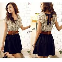 With Belt! Korean Women Summer New Fashion Chiffon Dress Short-sleeve Dots Polka Waist Mini Beige+Black