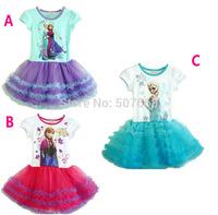 3SETS  Summer Brand Girls Princess Cotton Dress Anna&Elsa Lace Baby Dress Kids Party Wear 5pcs/set