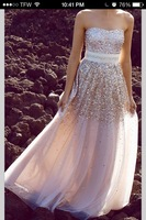 2014 Glamorous beach long blingbling evening dresses prom gowns with sash