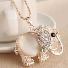 Opal diamante elephant pendant necklace/korea fashion designer brand women jewelry gifts wholesale/kolye/collier/bijoux/collares