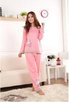 Hot sale sleepwear lounge women's sweet bear long sleeve pajamas cotton sleep Women lounge pijamas sets free shipping
