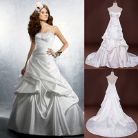 Ready Made Real Pictures Sweetheart Beaded Ruched Satin Chapel Train Wedding Dresses 2014