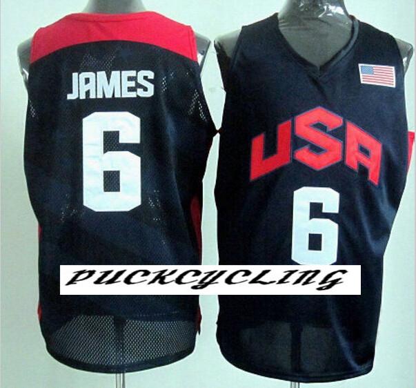 Free Shipping!!! #6 Lebron James London 2012 Olympics USA Dream Team jersey black basketball jerseys(China (Mainland))
