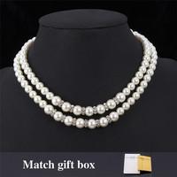 New Trendy Beautiful Bride Pearl Beads Clear Rhinestone Jewelry Pendant Charm Choker Necklace Pendant Jewelry For Women MGC N290