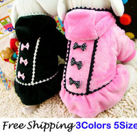 Free Shipping 2014 New Fashion  Winter Autumn Pet Dog Clothes Jasmine Princess Dress Black/Pink XS/S/M/L/XL CF3660