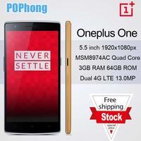 oneplus one bamboo 64gb 5.5 inch FHD 1920*1080 CyanogenMod 11 4g lte phone Snapdragon 8974AC Quad Core 2.5GHz