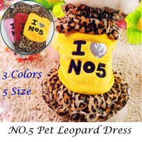 2014 New Arrival Free Shiping Pet Leopard Dress Dog Winter Autumn Clothes Super Cute Yellow/Red/Pink XS/S/M/L/XLCF3620