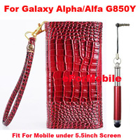 Mobile Phone Leather Case Crocodile Pouch Wallet Case Hand Cover+Stylus +Strap For Samsung Galaxy Alpha SM-G850F G850A  G850FQ