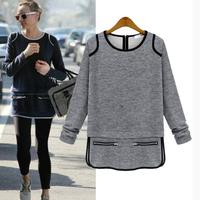 Brand New 2014 Autumn High Quality Fashion Causal Cotton Long Sleeve Blouse Woman Loose Plus Size Sheer Blusas Femininas