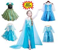 2014 Frozen Kids Dress Elsa Anna Princess Character Costume Girls Birthday Party Cosplay Children Evening Gown Size 100CM