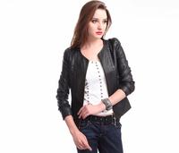 Brand New Korean 2015 O-Neck Classic Small leather Clothing ,Plus Size Slim Short jacket is female leather M-XXXXXL