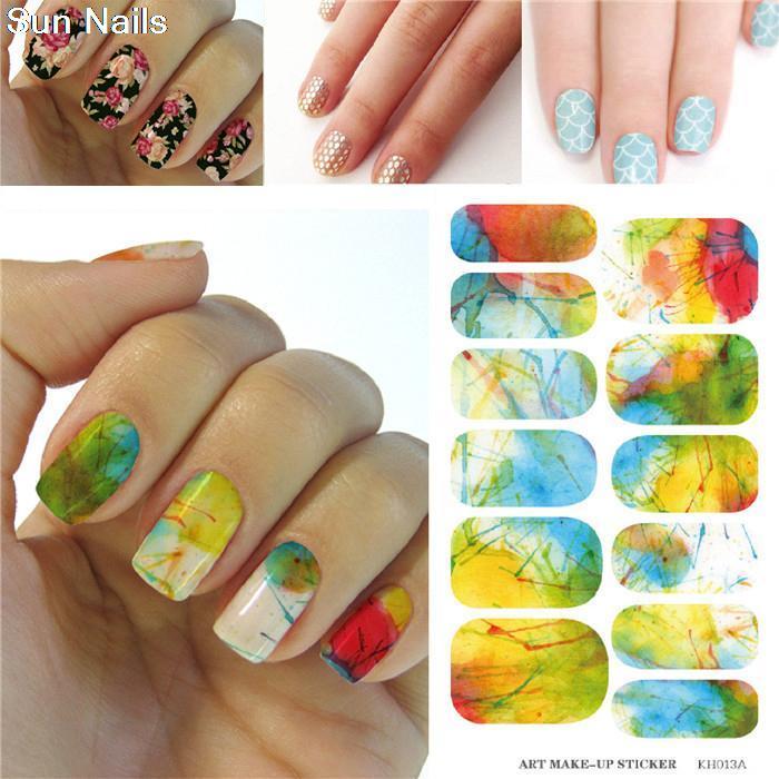 Water Transfer Foil Nails Art Sticker Fresh Blue Sky Design Nail Sticker Manicure Decor Tools Fingernails Decals Patch(China (Mainland))