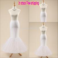 Free shipping In Stock High Quality White Trumpet mermaid wedding petticoat underskirt crinoline for dresses 1 Hoop Bone Elastic