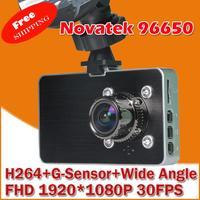 "Original Car Video Recorder DVR  with Novatek 96650 + WDR Technology + AVC 1080P 30FPS + G-Sensor + 3.0"" LCD + Wide Angle"