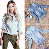 2014 Hot Selling Slim Fit Long Sleeve Shirts women blouse turn down collar Jeans Denim Shirt camisa jeans Blusas Femininas 05166
