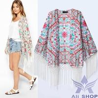 Womens Tops 2014 vintage floral Printed tassel Fringe Cape casual chiffon blouse elegant kimono cardigan blusas femininas 05894