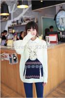2014 High Quality winter Print Wool crochet Rabbit sweater Knitted loose sweaters female Women Warm  animal Pullovers Knitwear