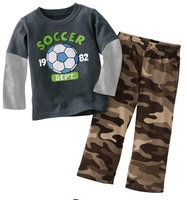 baby clothing set ,conjuntos baby boy set, soccer shirt +Camouflage pants ,100% cotton 12M - 6Y sizes
