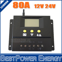 Free Shipping LCD 80A Solar Regulator, Solar Battery Panel Charge Controller 80A, 960W/12V, 1920W/24V Solar Charge Controller
