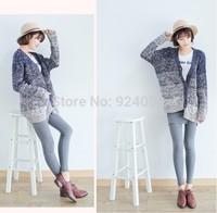 2014 Autumn Winter Women Long Sleeve Sweater Fashion Gradient Color Ladies Knitting Knitwear Sweater Cardigans Outerwear