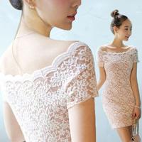 2014 summer fashion elegant sexy slit neckline tight lace dress