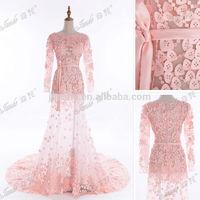 New Fashion A-Line See Through Appliqued Zuhair Murad Long Sleeve Evening Dresses