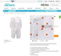 2014 New Original Carter's Newborn Bebe Boy/Girl's Halloween Pumpkin One-piece Romper for Unisex Neonate Infant NB/3M/6M/9M