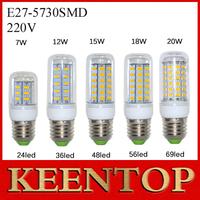 NEW E27 SMD5730 LED Corn Lamps 24Led 36Led 48Led 56Led 69Led LED Ball Bulb 7W 12W 15W 18W 20W Pendant Spotlight Solar Light 1Pcs