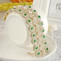 PEARL wide bracelet genuine Austrian crystals  BB-304 Rihood Trading 4.8CM WIDE Neoglory 2015