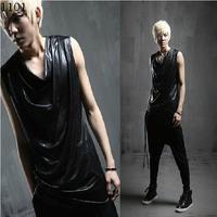 Black slim irregular men's sleeveless vest Male nightclub singer DS costumes