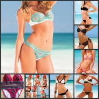 freeshipping fashion 2015 bikini set sexy swimwear womens push up bathing print more 20 styles swimwear factory