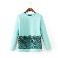 2014 new autumn ladies lace stitching round neck long-sleeved T-shirt sweater  printed sweatshirt women sweatshirt 3614